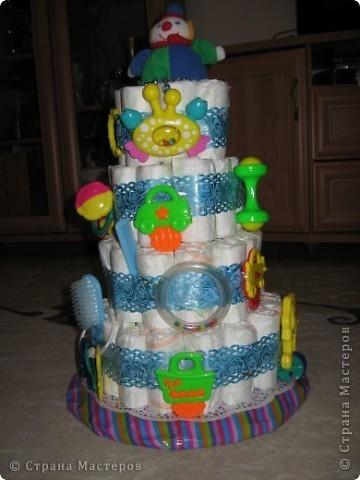 Pervii moi tortik iz pampersov na zakaz.....a mne ponravilos ego delat....;)  фото 1