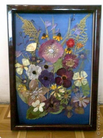 Картина из сухоцветов,камешков, стразов, бусинок.