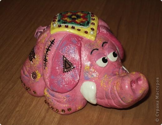 Розовый слоник. Создавался для маминой коллекции слонов, а также - это мой дебют! Попона вышита крестиком на канве. Приклеивала вместе с бисером в самом конце, после покрытия лаком. фото 1