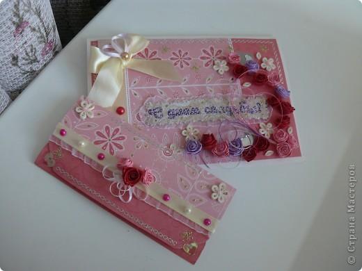 Комлект: свадебная открытка и конверт для денег фото 1