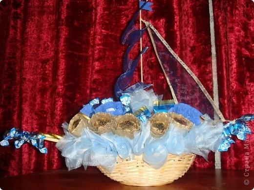 Корабль из конфет фото 1
