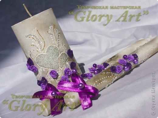 Свечки на свадьбу в малиновых тонах. фото 2