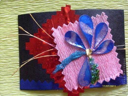 """Серия  """" ЦВЕТИК"""" ......... в связи с хорошим настроением ......... сделана на подарки ........ Материалы: картон  бумага гофрированная бумага оформительская ( голография) бисер леска лак для ногтей ......карточки объемные..........  фото 2"""