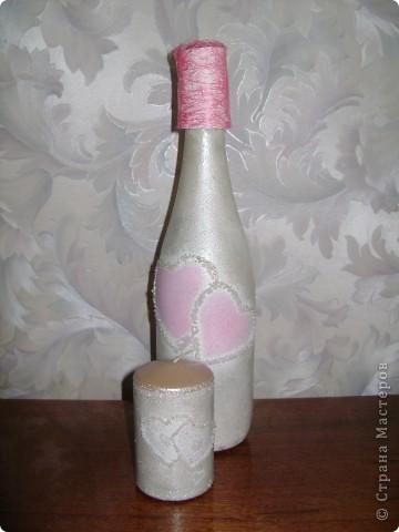 Бутылка. Лепка пластикой, оформление бисером. Моя повторюшка-розовушка.Цветы раскрашены акриловыми красками. фото 3