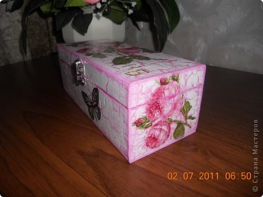 Шкатулка в подарок племяннице.Первый раз получился кракелюр. фото 4