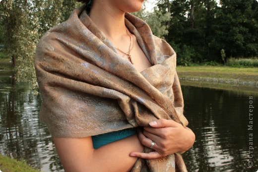 шарфик из шерсти и шелковых волокон фото 1
