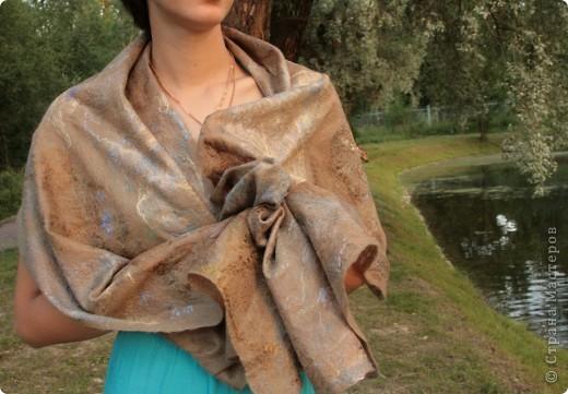 шарфик из шерсти и шелковых волокон фото 2