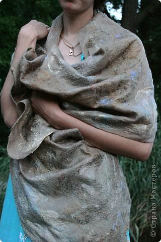 шарфик из шерсти и шелковых волокон фото 5