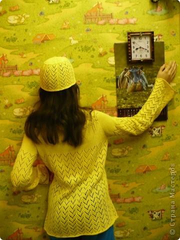 Вязала дочери на лето солнечный комплектик ( лет пять назад). Туника и шапочка. Нитки х-б.  фото 1