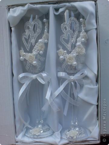 Свадебные бокалы с сердечками фото 4