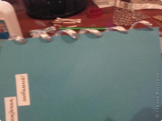 Вам понадобится: Клей ПВА,Термопистолет,ножницы,картон А4,серый и голубой цвет,карандаш,ручка,серебристая лента голубого цвета и серебряного,15см сеточки для украшения подарков(продаётся в местах упаковки подарков)2 сердечка  и 1 ключик(гальваника),кисточка или палочка для клея,цыганская игла или шило,формочка в виде сердечка,линеечка,кристаллики голубого цвета-8 штук,и хорошее настроение))) фото 22
