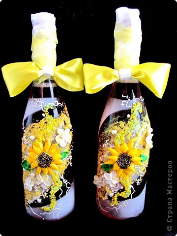 """Бутылки""""Свадебные подсолнухи"""" фото 1"""