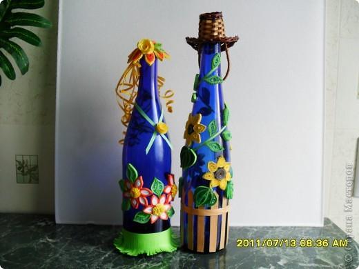 Появилась в хозяйстве вторая синяя бутылочка и вот решила сделать подружку для первой. Сюжет летний, ромашковая полянка. фото 2