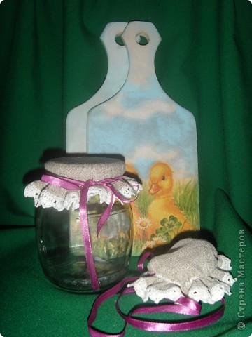 Мои льняные крышечки для кипяченой воды или парного молока, и досочки, выполненные в технике декупаж фото 1