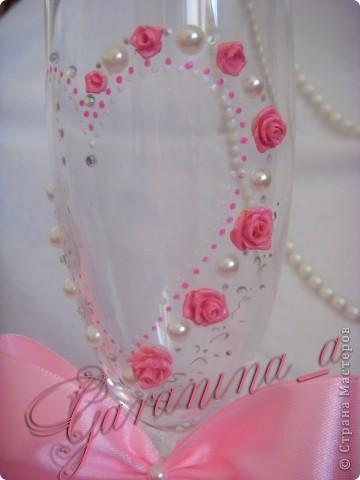 """Свадебные бокалы """"Розовый сон"""" фото 2"""