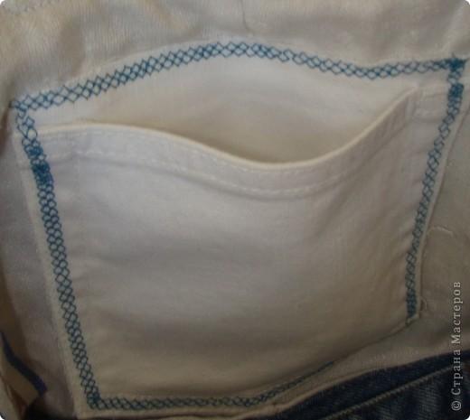"""Вот такая сумочка в стиле """"крейзи"""" пэчворк получилась из старых джинсов. фото 3"""