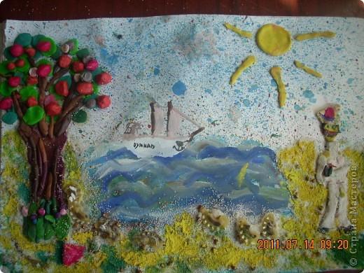 """в создании этой картины участвовал мой младший сынишка, (ему 4 года), помогали старшие брат и сестра ( 10 лет). Картину назвали """"Капитан Грант""""... фото 1"""