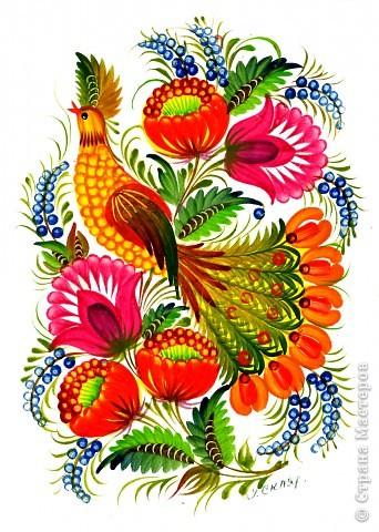 """Листья в петриковской росписи очень разнообразны, как и в природе, но не натуралистичны, а декоративны. Различаются они по форме, цветовой гамме, способам выполнения и """"оживления"""". Под """"оживлением"""" понимается оформление листка или цветка более мелкими деталями, то есть его украшение, доведение декоративности до совершенства.  Здесь есть каноны, но каждый мастер может применить свой прием оживления деталей рисунка.    Известны три основных вида листьев. 1.Многозубчатый овально-удлиненной формы.  2.Кленовый или виноградный лист.  3.Лист папоротника (акантовый).    Первый вид является наиболее распространенным. Выполняется он следующим образом : на круглую кисть набирается 2 оттенка или цвета (см. подробнее о переходном мазке в""""Секретах росписи"""",часть 1) и проводится центральный удлиненный мазок ( его направление зависит от места в композиции). Этот мазок может быть прямым или с поворотом, как в нашем примере. Последующие (также переходные) мазки рисуются поочередно с одной и другой стороны, придавая изображению форму листка. Середина его, как видно, оживлена более темным цветом при помощи кошачьей кисточки.Другой очень распространенный прием оживления - процарапывание центрального контрастного мазка острым концом древка кисти или чем-нибудь другим (деревянной зубочисткой, например). фото 5"""