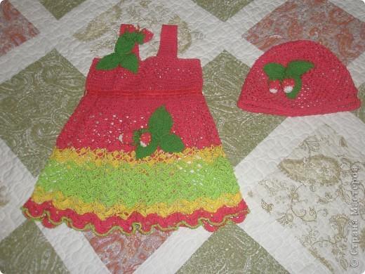 """Сарафан и шапочка """"Клубничка! для моей внучки Яночки. Мои первые работы фото 1"""