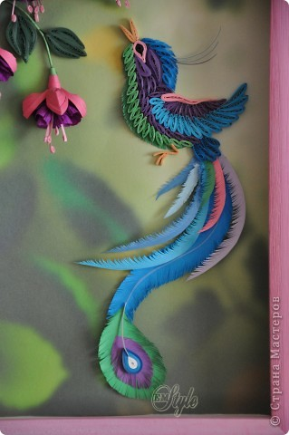 Поделка изделие Квиллинг Райская птичка и фуксия Бумажные полосы фото 3