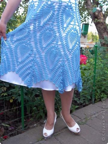 """Голубая юбка,такую модель вяжут на """"Осинке"""""""