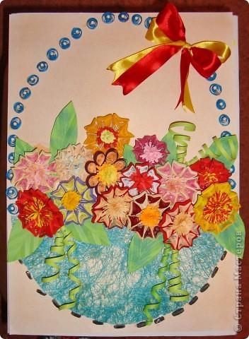 Сегодня ночью решила сделать вот такую корзиночку с цветами.