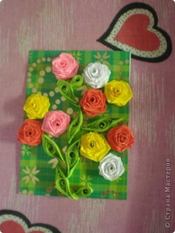 Всем доброго времени суток!!!  Вот Моя новая серия карточек Нежность роз. Розы выполнены в технике квиллинг.  фото 3