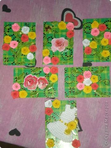 Всем доброго времени суток!!!  Вот Моя новая серия карточек Нежность роз. Розы выполнены в технике квиллинг.  фото 1