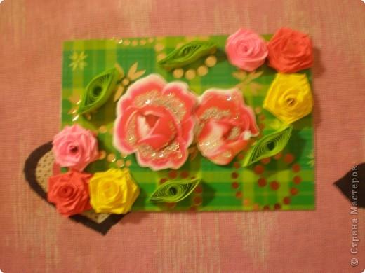 Всем доброго времени суток!!!  Вот Моя новая серия карточек Нежность роз. Розы выполнены в технике квиллинг.  фото 6