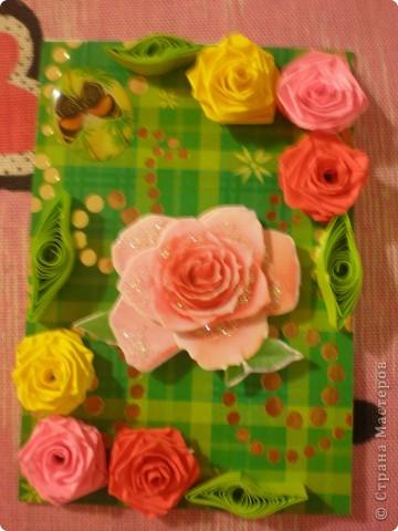 Всем доброго времени суток!!!  Вот Моя новая серия карточек Нежность роз. Розы выполнены в технике квиллинг.  фото 2