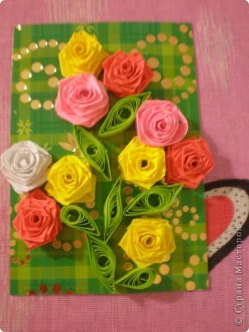 Всем доброго времени суток!!!  Вот Моя новая серия карточек Нежность роз. Розы выполнены в технике квиллинг.  фото 5