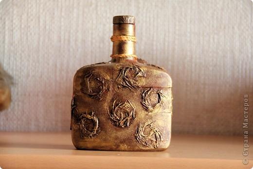 Бутылка стеклянная, клей пва, капроновые колготки, салфетка, акриловые краски. Вид спереди фото 5