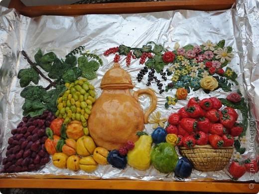 Заранее прошу прощения, не доделала. Ну, не стерпела. В рамочку еще не перенесла.  Летние ягодки:виноградик, яблочки, грушки, персики, клубничка.... фото 1