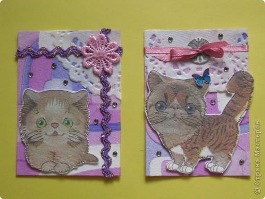 """Ненадолго меня хватило. Перебирая полученные карточки и подарочки, обнаружила этих милых котят. И все, опять понеслось...Серию назовем...""""ГЛАЗАСТИКИ"""".  К своему стыду я не помню, кто мне прислал эти салфетки (котики и фон), но им Огромное СПАСИБО! фото 3"""