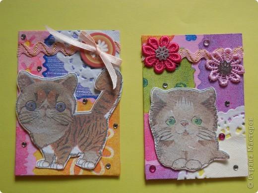 """Ненадолго меня хватило. Перебирая полученные карточки и подарочки, обнаружила этих милых котят. И все, опять понеслось...Серию назовем...""""ГЛАЗАСТИКИ"""".  К своему стыду я не помню, кто мне прислал эти салфетки (котики и фон), но им Огромное СПАСИБО! фото 5"""
