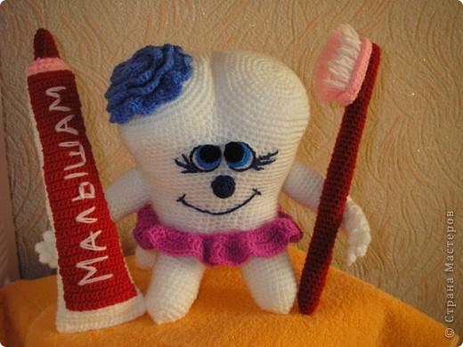 Игрушка Мастер-класс Вязание Вязание крючком Вязаная игрушка Всёлый Зубик - Авторский мастер класс Нитки Пряжа фото 40