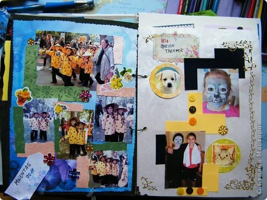 После 2-го класса у нас меняется учительница. То есть 4-х летняя начальная школа  делится на 1-2 класс у одной учительницы и 3-4 у другой.  О перемене учительницы все сожалеют, потому что наша о-очень хорошая, внимательная, строгая и справедливая.  И вот подумалось мне  сделать памятный альбом с фотографий, ктоторые у меня есть. Вика на мероприятия часто берет свой фотоаппарат, поэтому кое-что было. Вот что вышло.  Фотографии альбома сделаны в 2 захода при более-менее нормальной погоде, и при  дожде в  последний вечер перед дарением альбома. Они с надписями, сделанными Викой, но хуже по качеству. фото 34