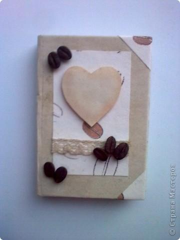 Здравствуйте!Я к вам со своей новой работой!Это мой кофейный комплект:открытка и блокнот. фото 4