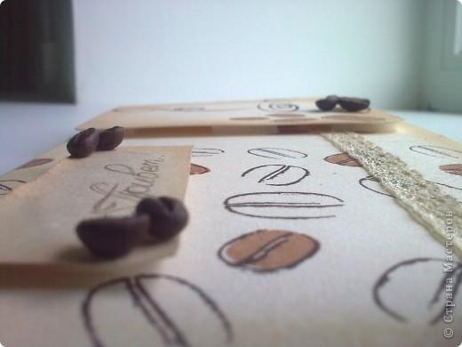 Здравствуйте!Я к вам со своей новой работой!Это мой кофейный комплект:открытка и блокнот. фото 3