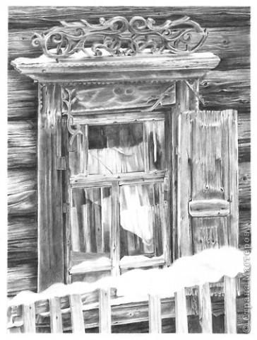 старое окно,бумага,А3,карандаш 2В