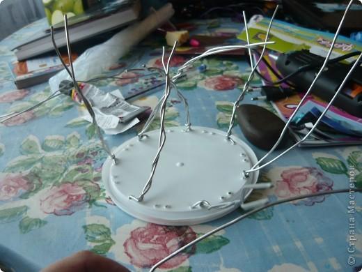 """Вот такую заготовку для сладкого букета я сделала сегодня.Нужно было где-то найти """"микрофончик"""" для букета из конфет. Придумала вот так. Понадобились:  - крышка от майонеза в ведёрках; - проволока; - шило; - гофрированная бумага; - ленты; - сетка; - клеевой пистолет; - вата.    фото 2"""