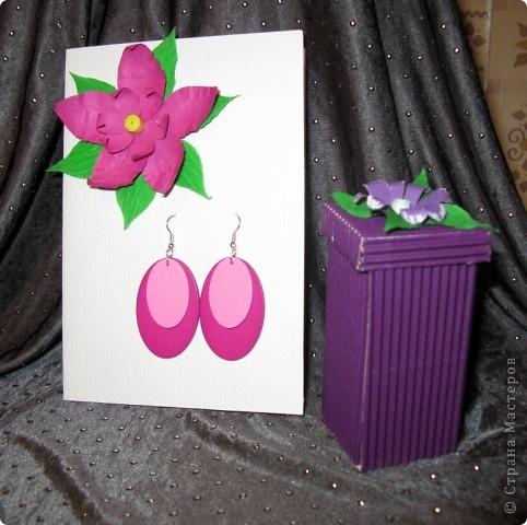 Открытка,серёжки и коробочка с фиолетовым лаком для ногтей:) Вся эта прелесть ручной работы фото 1