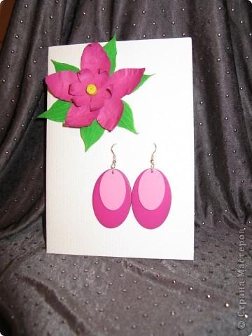 Открытка,серёжки и коробочка с фиолетовым лаком для ногтей:) Вся эта прелесть ручной работы фото 2