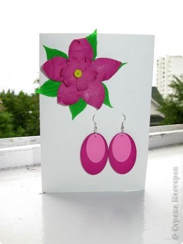 Открытка,серёжки и коробочка с фиолетовым лаком для ногтей:) Вся эта прелесть ручной работы фото 3
