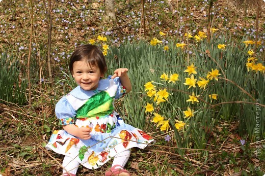 Это платьице я сшила дочке на ее 1й день рожденья. Хотелось, чтобы событие было особенным и запоминающимся. Тортик здесь можно посмотреть: http://stranamasterov.ru/node/219374,  а приглашение здесь: http://stranamasterov.ru/node/219822  Вид спереди. фото 11