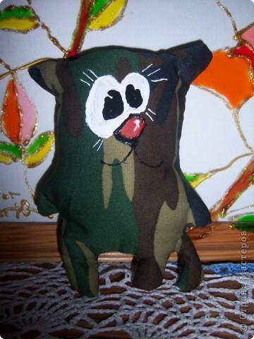 Вот такого котика можно подарить нашим защитникам)) а если в нутрь положить кофеёные зёрнышки или щепотку ванилина то наш котик может так же стать и полезным))