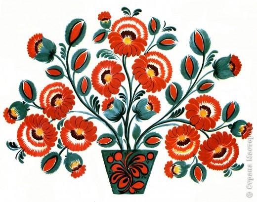 """Рассмотрим наиболее распространенные схемы петриковской росписи.    К ним относятся """"цветок"""", """"вазон"""", """"букет"""", """"ветка"""", """"ковер"""", """"пейзаж"""", """"жанровая композиция"""", """"бегунец"""" (""""фриз"""").    Мы не ошибемся, если скажем, что самой распространенной и самой любимой схемой мастеров всех поколений является """"цветок"""".     В настенной росписи изначально всегда преобладал растительный цветочный орнамент. Вот как об этом пишет один из основателей петриковского  центра Александр Статива: """"Настенные росписи в селе Петриковка выполняют почти исключительно женщины. Работа начинается с того, что рисуют самые крупные цветы, потом соединяют их ветками и листьями, далее равномерно заполняют пространство более мелкими цветами, бутонами и листочками. Работают петриковские художники очень быстро, стремясь прежде всего к созданию  декоративных красочных пятен.  Над всем господствует тяга к колористической гамме...Самое большое внимание уделяют оформлению """"зеркала"""" (центральной части) печи, где размещают  большие цветы...""""     Превратившись из элемента настенной ромписи в самостоятельную декоративную композицию,  """"цветок"""" не утратил своих первичных признаков, а именно: на одном стебле могут быть размещены 2 или 3 разных цветка с листьями, бутонами, гроздьями ягод. Цветы часто бывают разного цвета и формы, а листья могут быть  даже """"заимствованы"""" у другого растения. При этом, как мы уже отмечали,  существует совершенная согласованность в цветовой гамме. Полностью сказочная композиция воспринимается как абсолютно реальное целое.     фото 3"""