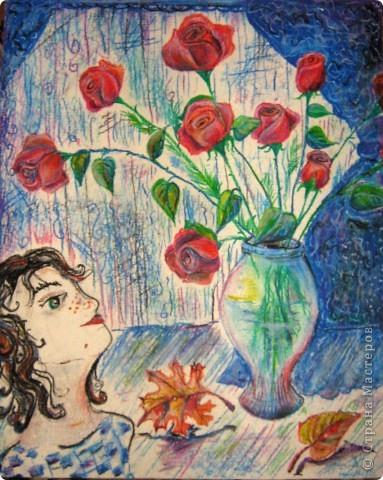 Бабушка попросила нарисовать несколько роз, а получилась целая картина с девушкой и осенними листьями.Формат  большой, я думаю где-то100см на 60см. Первая серьёзная работа пастелью фото 1