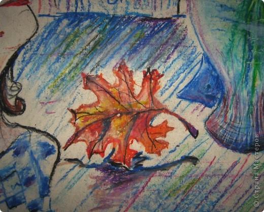 Бабушка попросила нарисовать несколько роз, а получилась целая картина с девушкой и осенними листьями.Формат  большой, я думаю где-то100см на 60см. Первая серьёзная работа пастелью фото 2