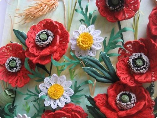 Картина панно рисунок Квиллинг Маковое поле Бумажные полосы фото 4.
